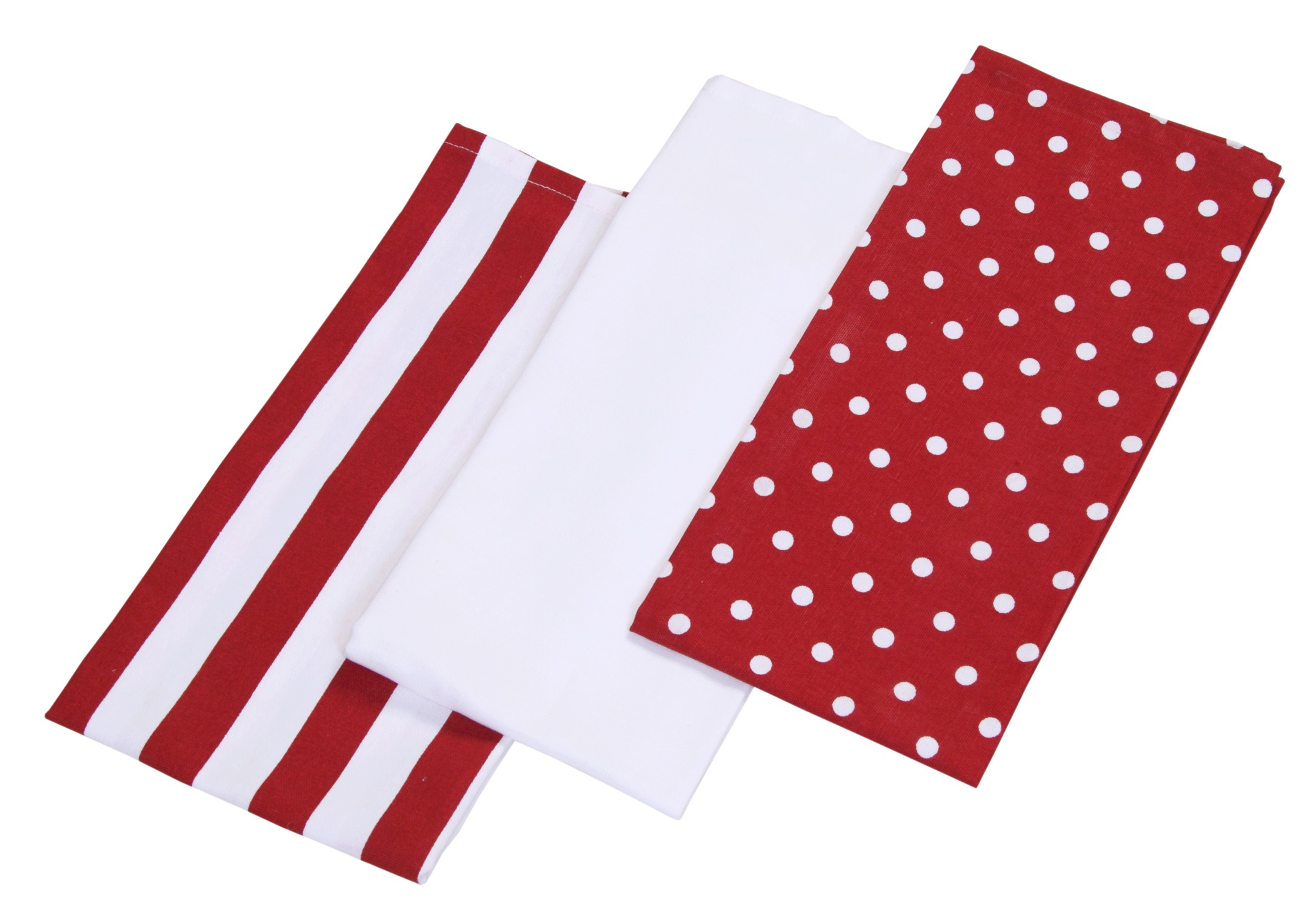 Homescapes Stripes And Polka Dot Kitchen Towel Red And White