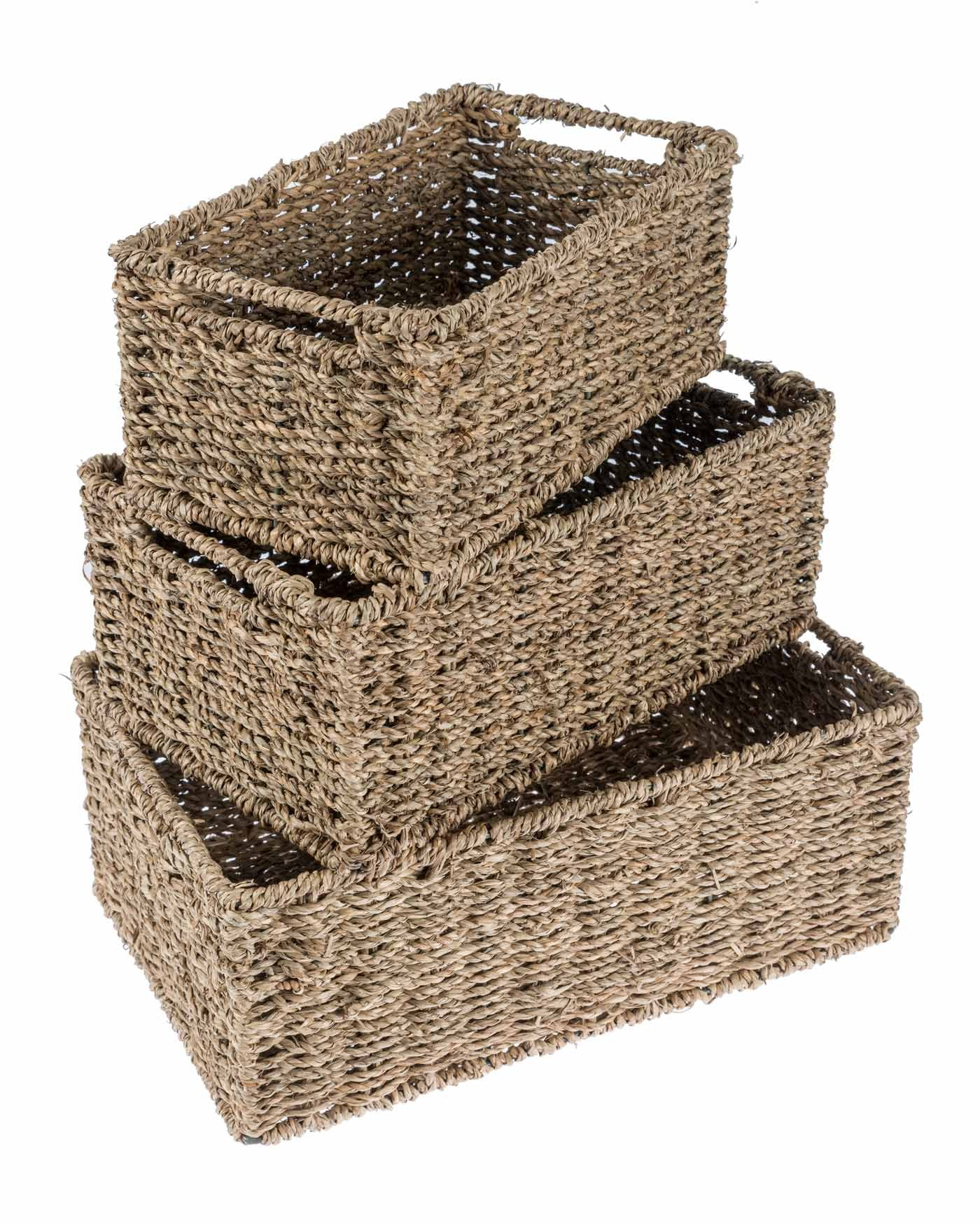 Homescapes Set Of Three Natural Wicker Bathroom Storage Baskets