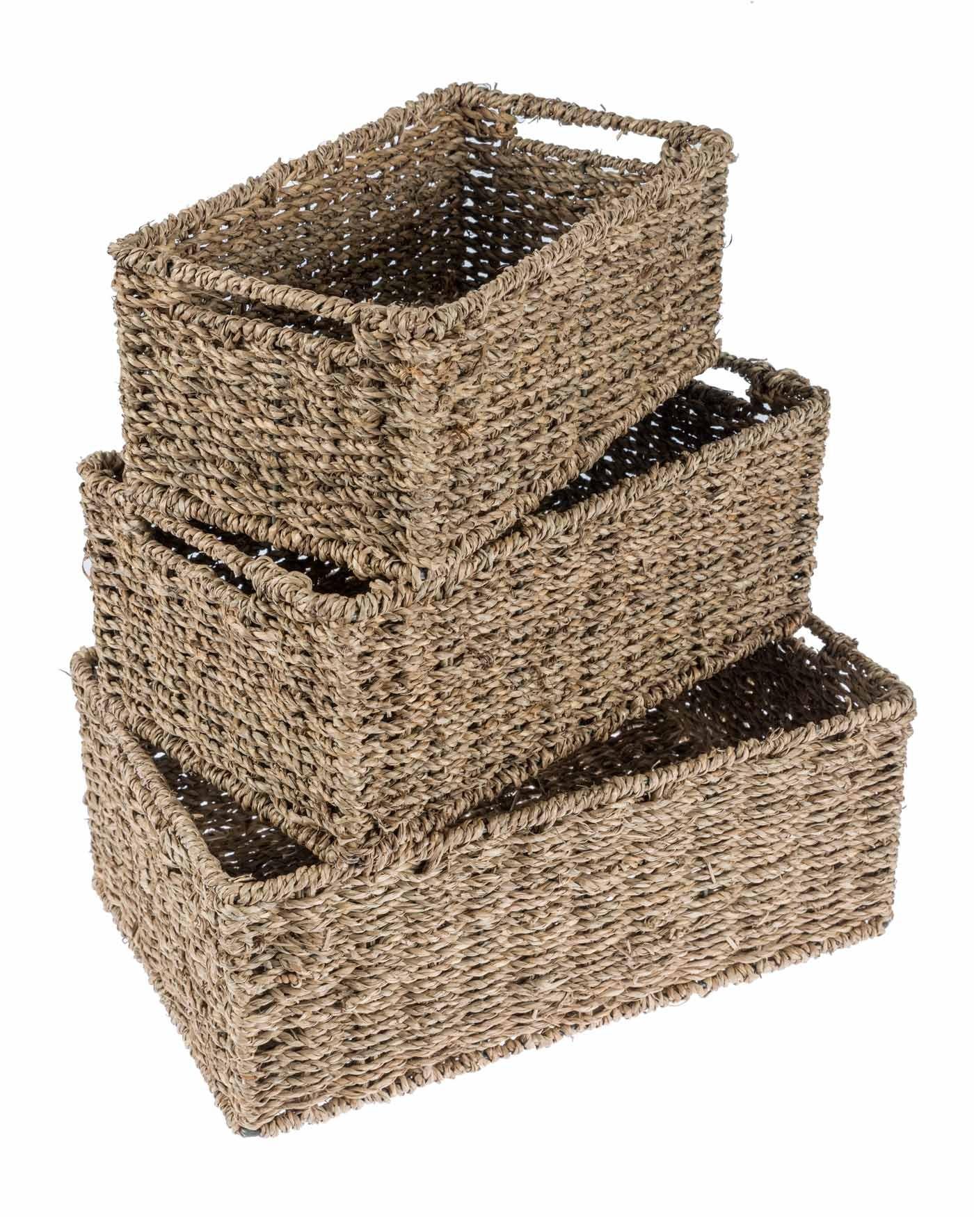 Homescapes Set Of Three Natural Wicker Bathroom Storage Baskets
