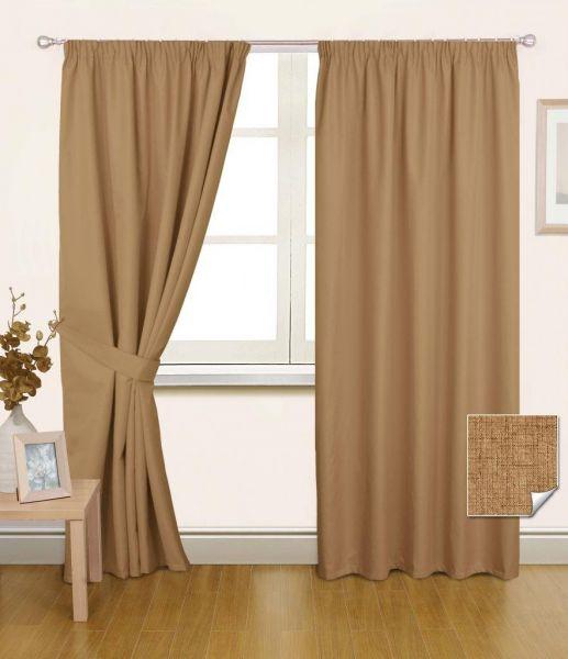 """Latte Pencil Pleat Blackout Curtain Pair, 66 x 72"""""""