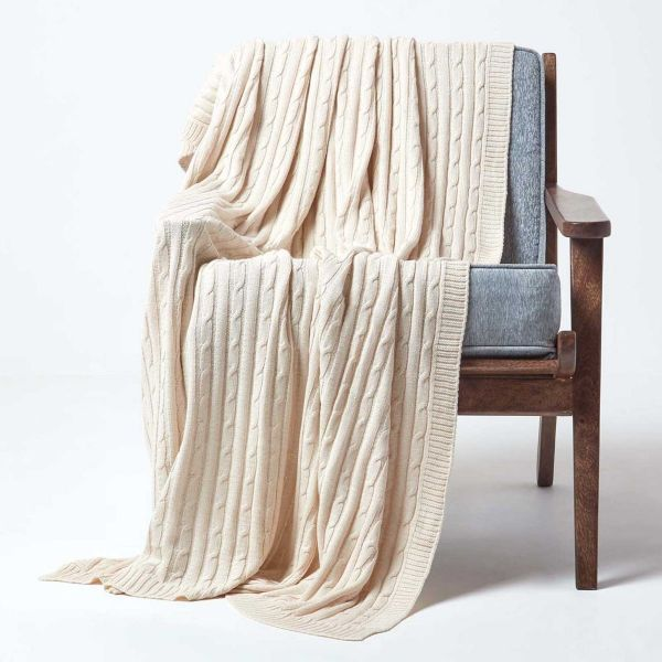 Cotton Cable Knit Throw, Natural