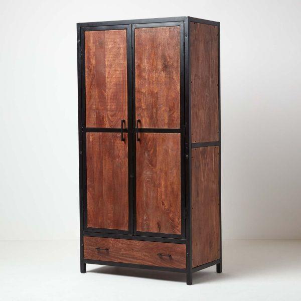 Reclaimed Wood Double Door Wardrobe Industrial Furniture Range