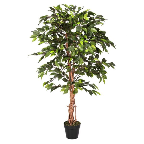 Green Ficus Tree Artificial Plant with Twisted Real Wood Stem, 4 Ft