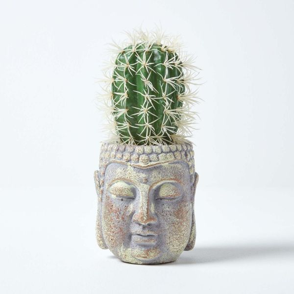 Echioncactus Artificial Cactus in Decorative Buddha Head Stone Pot, 24 cm Tall
