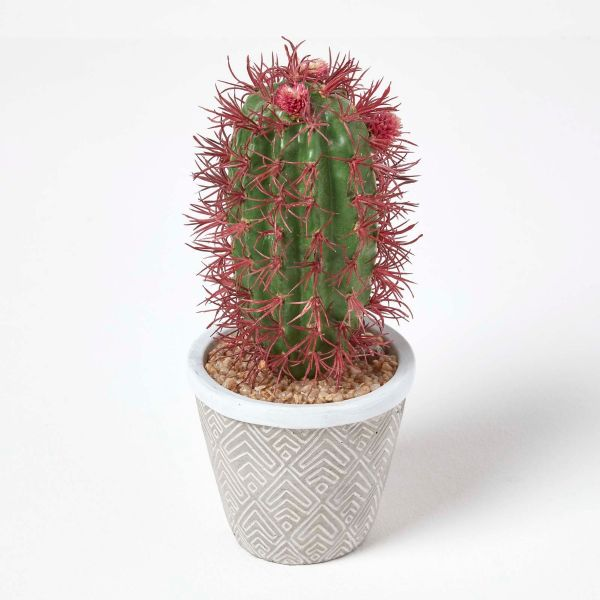 Denmoza Artificial Cactus with Flowers in Patterned Pot, 25 cm Tall
