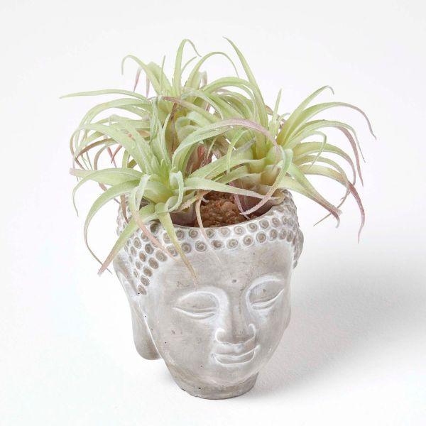 Artificial Cactus Grass Plant in Decorative Buddha Stone Pot, 21 cm Tall