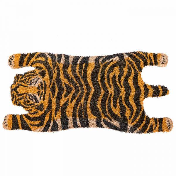 Tiger Shaped Coir Animal Print Non-Slip Doormat