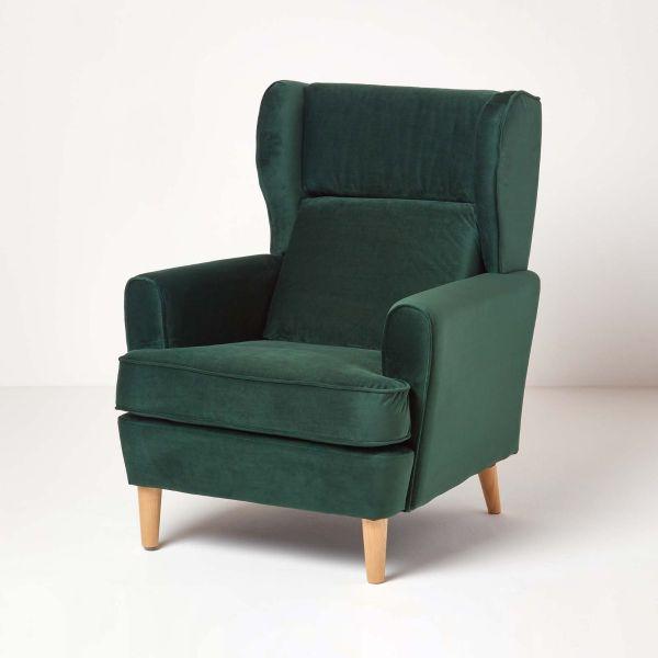Rita Velvet Wing Back Armchair, Dark Green