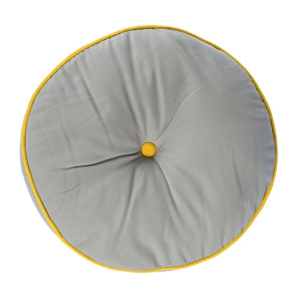 Grey and Yellow Round Floor Cushion
