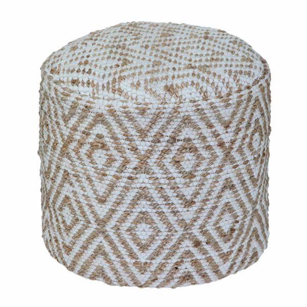 Sierra Natural Diamond Pattern Hemp Circular Bean Filled Pouffe, 45 cm