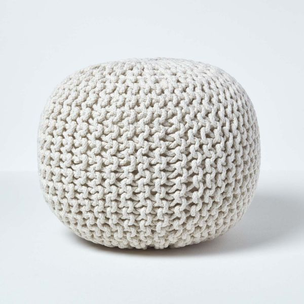 Natural Knitted Cotton Pouffe Footstool Round 35 x 40 cm