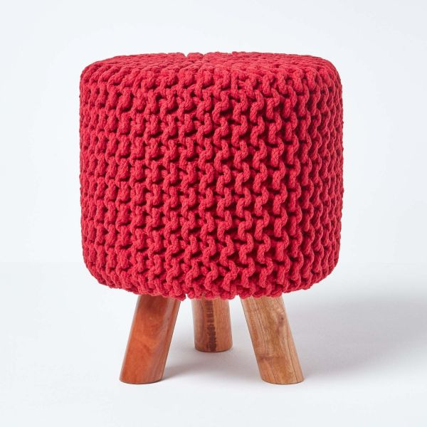 Red Tall Cotton Knitted Footstool on Legs