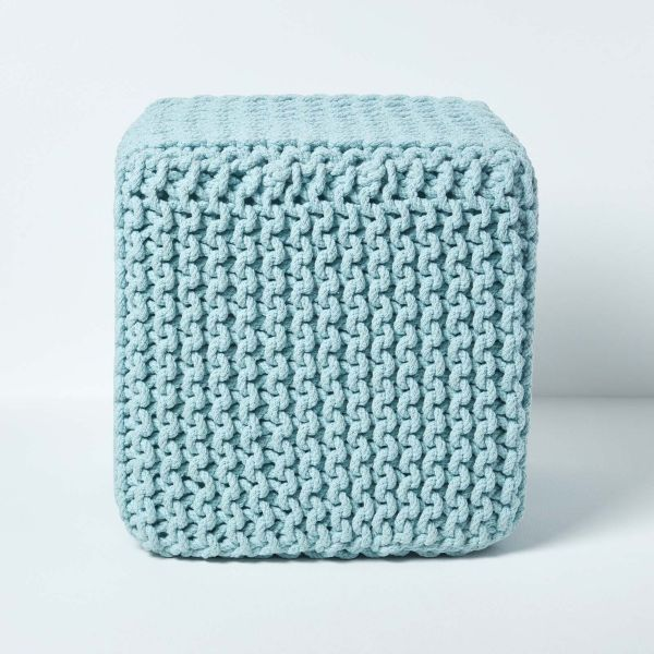 Duck Egg Blue Knitted Cotton Cube Footstool 35 x 35 x 35 cm