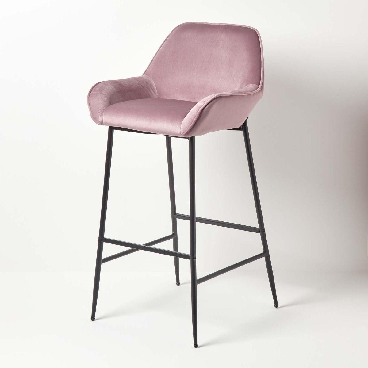 Eton Velvet Bar Stool, Blush Pink