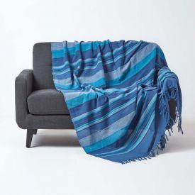 Cotton Morocco Striped Blue Throw