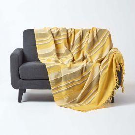 Cotton Morocco Striped Yellow Throw