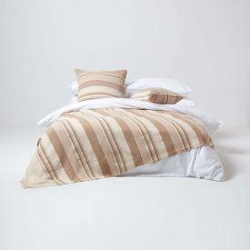 Cotton Morocco Striped Beige Throw, 255 x 360 cm