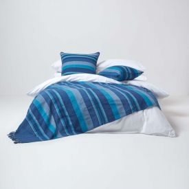 Cotton Morocco Striped Blue Throw, 255 x 360 cm