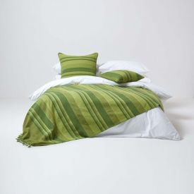 Cotton Morocco Striped Green Throw, 255 x 360 cm