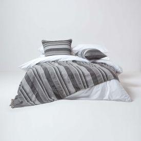Cotton Morocco Striped Grey Throw, 255 x 360 cm
