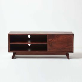 Dark Wood TV Stand with Shelf Retro Design 100% Solid Wood