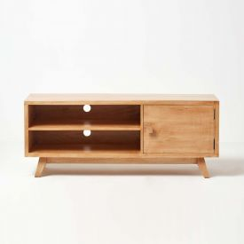 Retro Wooden TV Stand with Shelf  100% Solid Mango Wood Oak Shade