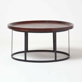 Industrial Round Coffee Table with Dark Wood Top and Steel Frame