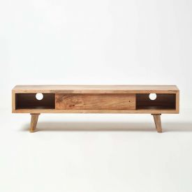 Retro Mid Century Natural Wood TV and Media Unit with Sliding Door