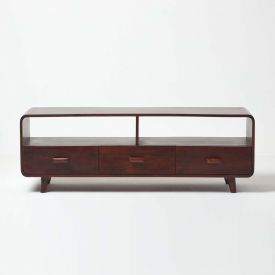 Retro Style Cube TV Unit with 3 Drawers Solid Wood Dark Shade