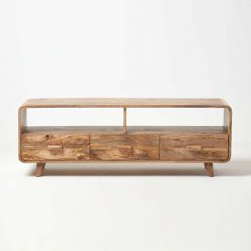 Retro Style Cube TV Unit with 3 Drawers Solid Wood Natural Shade