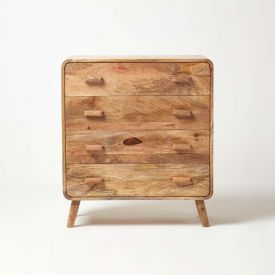 Retro Style Cube Chest of 4 Drawers Solid Wood Natural Shade