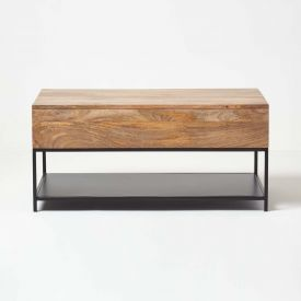 Reclaimed Wood Industrial Lift Top Coffee Table with Storage and Shelf