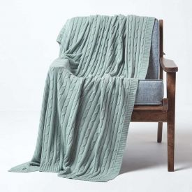 Cotton Cable Knit Duck Egg Blue Throw