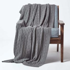 Cotton Cable Knit Grey Throw