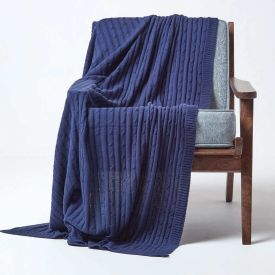 Cotton Cable Knit Navy Blue Throw