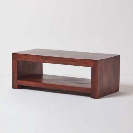 Dakota Rectangle Coffee Table with Shelf Dark Wood
