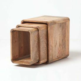 oak cube nest of table