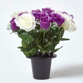 White & Purple Artificial Grave Flowers Roses & Rosebuds Mix in Grave Vase