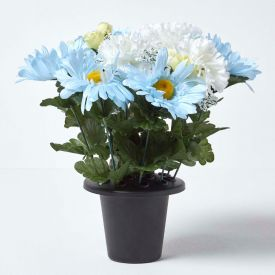 Baby Blue and White Artificial Flowers in Grave Vase