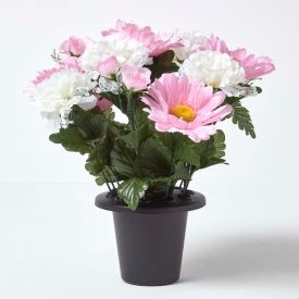 Baby Pink and White Artificial Flowers in Grave Vase