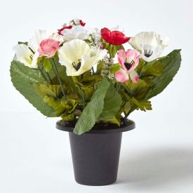 Pink and Cream Anemone Artificial Flower Arrangement in Grave Vase