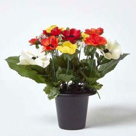 Orange and Red Anemone Artificial Flower Arrangement in Grave Vase