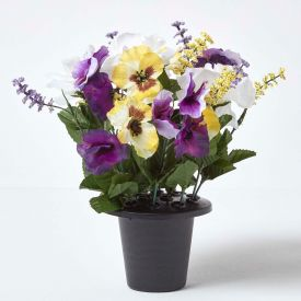 Cream, Lilac and Purple Artificial Flowers Pansy and Rose Grave Vase