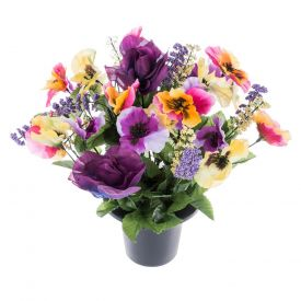Purple, Red and Yellow Artificial Flowers Pansy and Rose Grave Vase