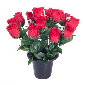 Red and White Grave Artificial Rosebud and Gypsophila Flowers Mix in Grave Vase
