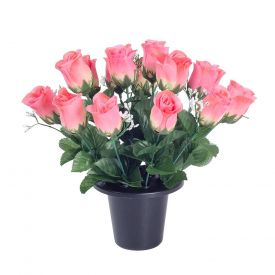 Pink  and White Grave Artificial Rosebud and Gypsophila Flowers Mix in Grave Vase