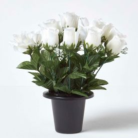 White Grave Artificial Rosebud and Gypsophila Flowers Mix in Grave Vase