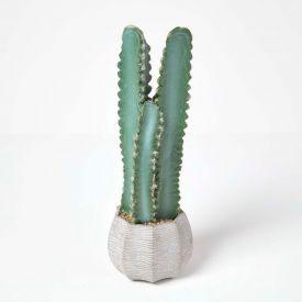 Hylcocereus Artificial Cactus In Decorative Textured Stone Pot, 49 cm Tall