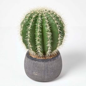 Golden Barrel Artificial Cactus in Textured Stone Grey Pot, 38 cm Tall