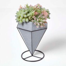 Artificial Cactus and Succulent Arrangement in Decorative Geometric Grey Pot, 31 cm Tall